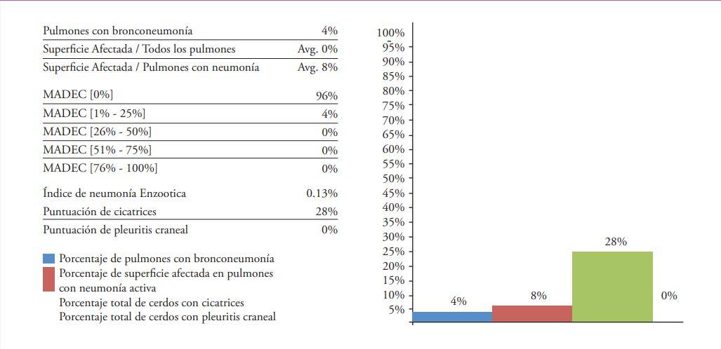 Imagen 6. Indicadores de neumonía enzootica utilizando la app CLP.