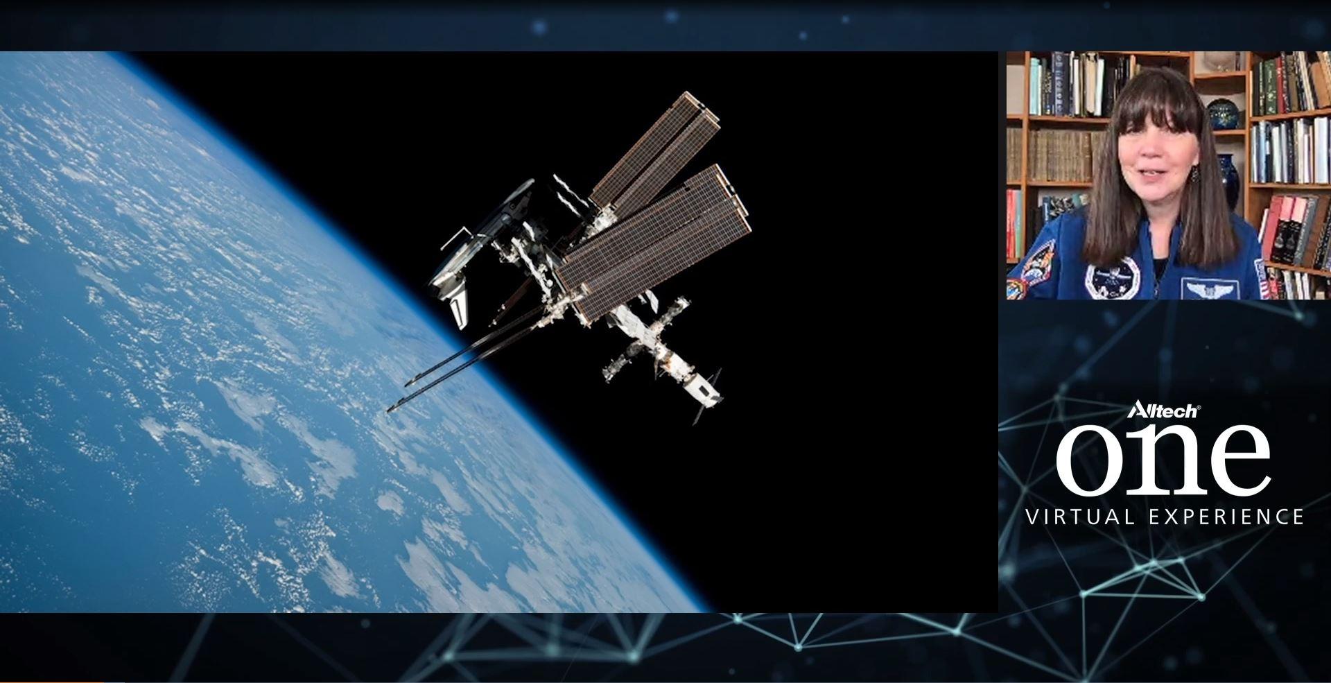 """La ex astronauta Cady Coleman con el tema """"Innovación en aislamiento: una guía del astronauta para la fortaleza mental, la creatividad y la conectividad."""""""